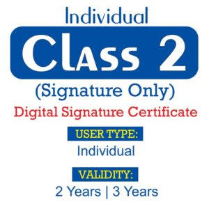 CLASS 2 INDIVIDUAL SIGNATURE ONLY
