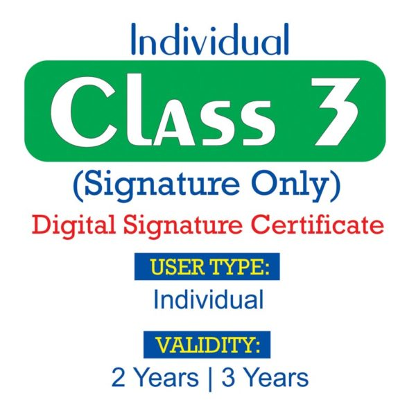 Class 3 Individual Signature only